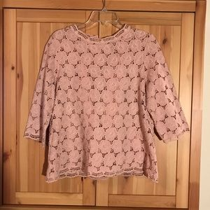 J Crew Collection pink lace top large